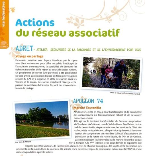 Actions réseau associatif FRAPNA74